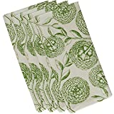 E by design Antique Flowers, Floral Print Napkin, 19 x 19'', Green