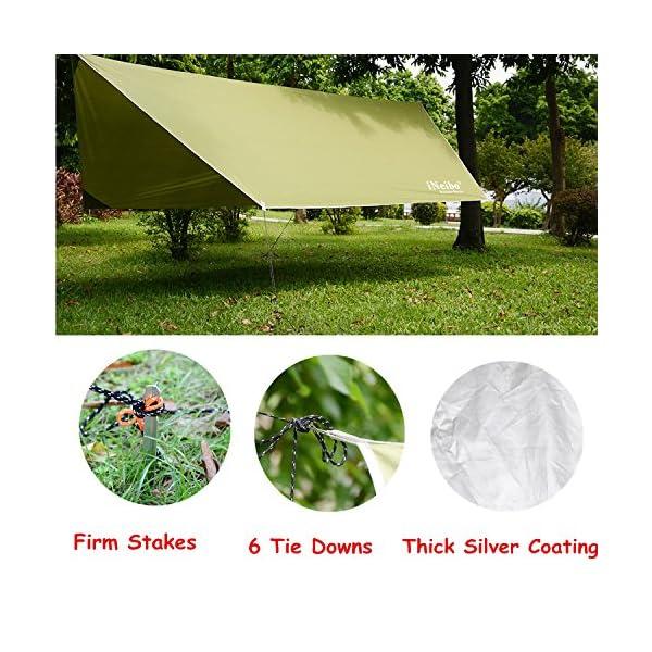 61IK5gIUqXL iNeibo Tarp 3x4 Wasserdicht Zeltplane Sonnenschutz Regenschutz mit 5 Zeltheringe und 6 Lange Schnüre Camping Zubehör…