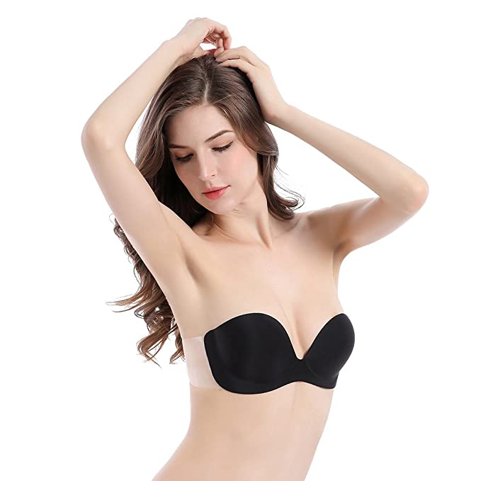 20f5b08455f ENVIEUSED SENSE Self Adhesive Strapless Backless Push-Up Bra with Clear  Wings for Deep Necklines