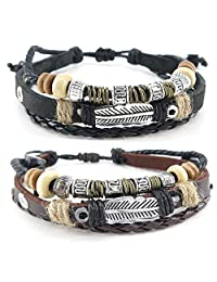 Konov Jewelry Leather Mens Womens Bracelet, 2pcs Vintage Feather Bangle, 7-9 inch Adjustable, Brown Black, with Gift Bag, C25270