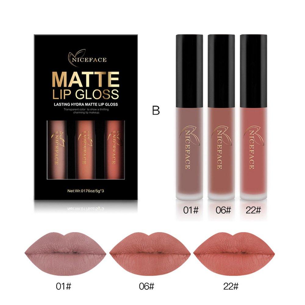Rechoo Rossetti Matte Rossetto Lunga Durata Impermeabile Liquid Lipstick 3 Colours Makeup Set NICEFACE