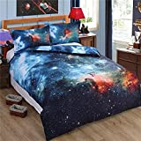 Alicemall Galaxy Bedding Twin XL Size Outer Space Home Textile Fabric Polyester 4-Piece Duvet Cover Sets, Blue Galaxy Bedding (Twin XL)