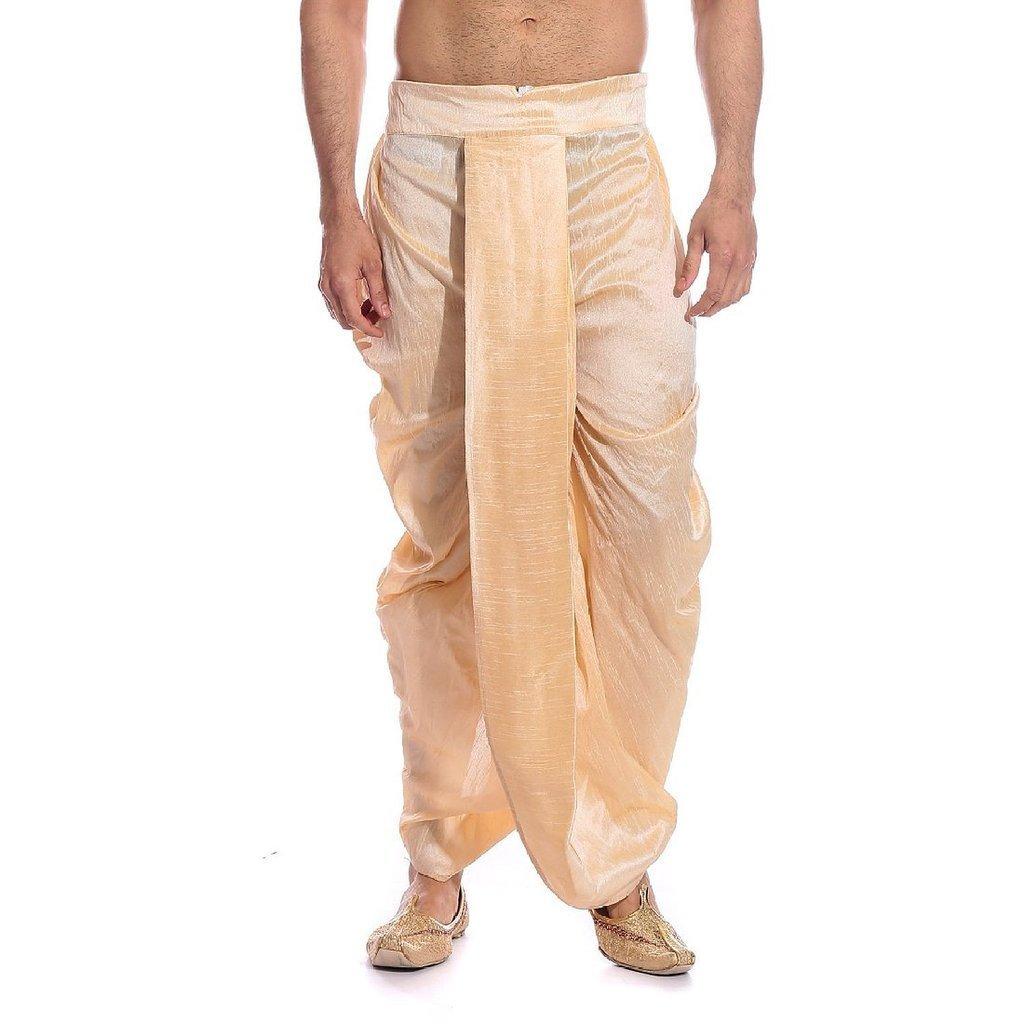 Royal Kurta Men's Art Silk Fine Quality Ready To Wear Dhoti pants Free Size Gold