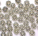 100 Piece 6mm Tibetan Daisy Flower-Shaped Bali-Style Spacer Beads ...