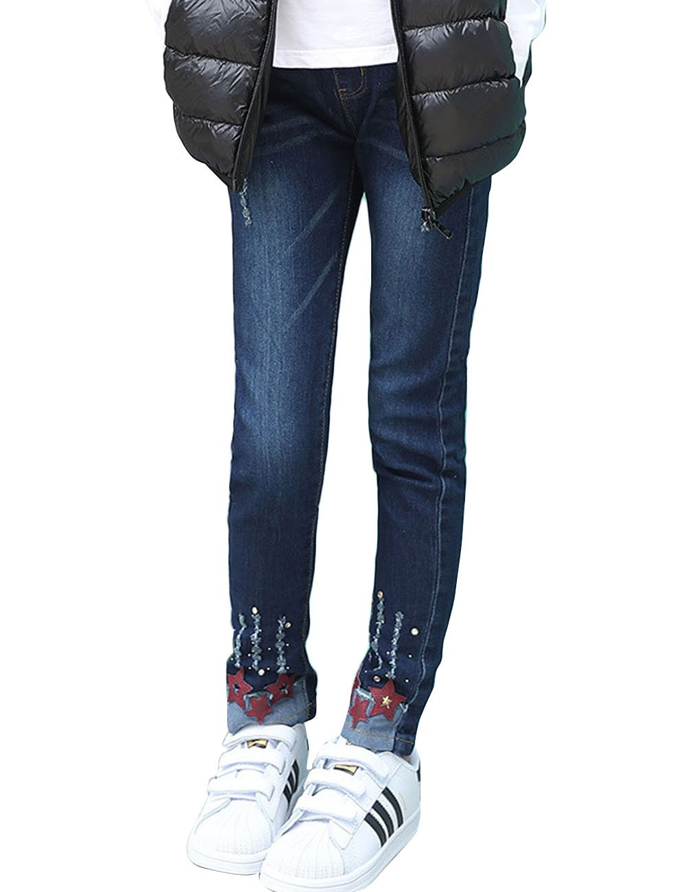 Menschwear Girl's Cotton Blue Denim Jeans Stone Washed Casual Girl Jeans (140cm,Blue)