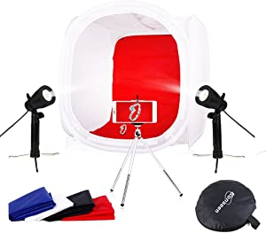 Photo Studio Shooting Tents Box & Table Light Kits 20x20x20 Photography Video Lighting Cube Diffusion Softbox Kit with 2x50W Led Lamps