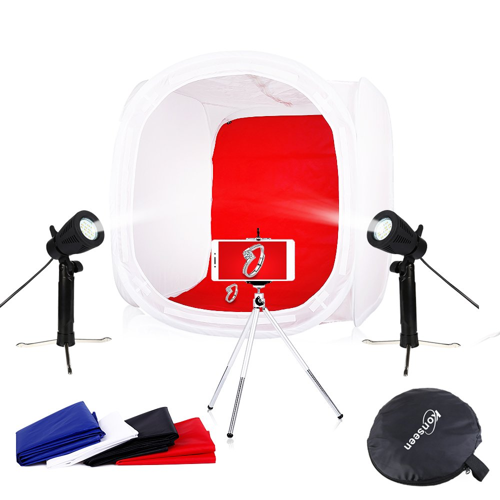 Photo Studio Shooting Tents Box & Table Light Kits 20x20x20 Photography Video Lighting Cube Diffusion Softbox Kit with 2x50W Led Lamps by Konseen