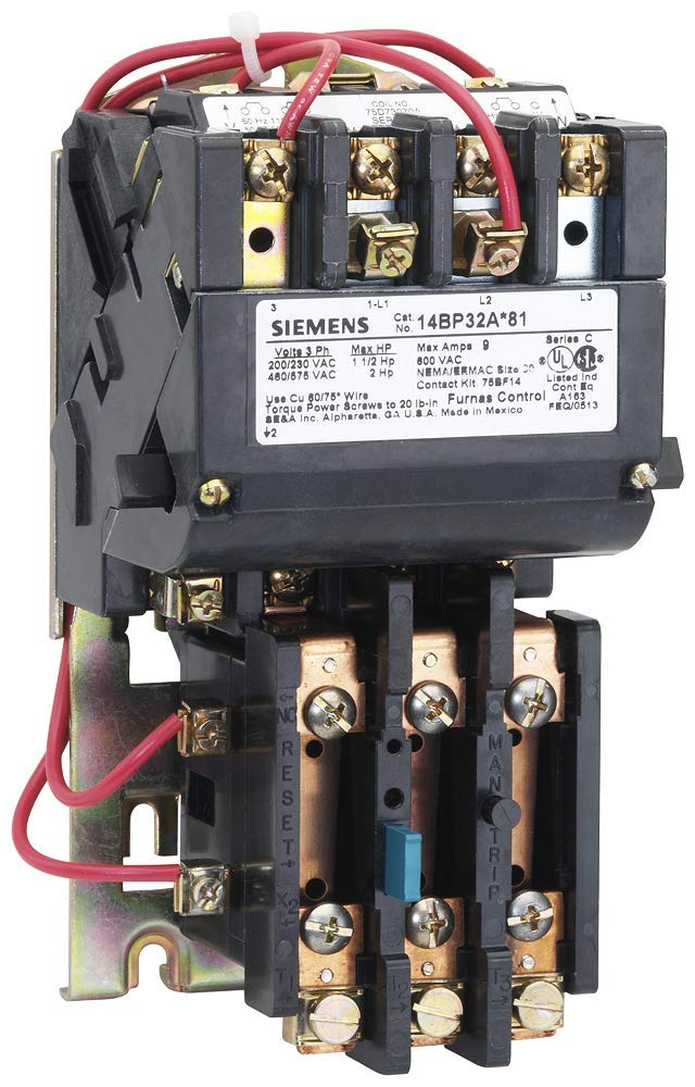 Siemens 14BP32AA81 Heavy Duty Motor Starter, Ambient Compensated Bimetal Overload, Manual/Auto Reset, Open Type, 3 Phase, 3 Pole, Standard Auxiliary Contacts, 00 NEMA Size, 9A Contactor Amp Rating, 110-120/220-240 at 60Hz Coil Voltage by SIEMENS
