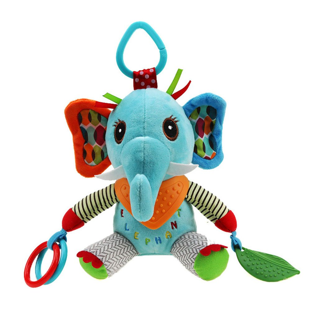 Amazemarket 6 Styles Boys Girls Baby Bed Pram Pushchair Hanging Rattle Appease Toy Cute Animal Plush Stroller Hanging Mirror Toys With Teether Infant Early Learning (No original cat)