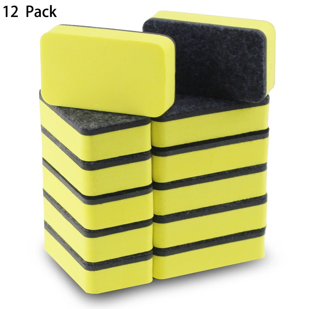 12 Pack of Magnetic Whiteboard Eraser,Bright Yellow Dry Erasers for Cleaning Dry Erase Pens and Markers off White Boards for Classroom,School,Office,Home and Kids,2 4/5 x 1 3/5 Inches