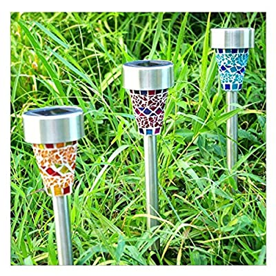 Solar Garden Lights, ZEYI Solar Path Lights, 3 Pack Driveway Lights 3 Colors, Stainless Steel, Wireless Easy to Install Landscape Lights Best for Outdoor Lawn, Yard, Pathway