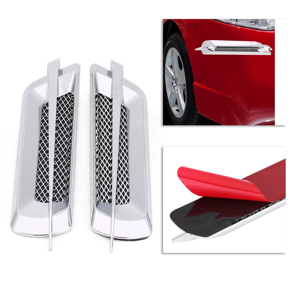 Qiilu Air Flow Trim Car Side Air Flow Grille Intake Trim for Universal Car Vehicle Sticker Decorative Silver
