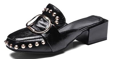 Easemax Damen Modern Blockabsatz Low-Top Pantoletten Slipper mit Niete