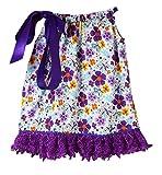 Dress Up Dreams Boutique Wholesale Princesa Almohada Vestido con Empate, Color Morado y Amarillo Floral de Raso y Encaje, Purple, Yellow, White