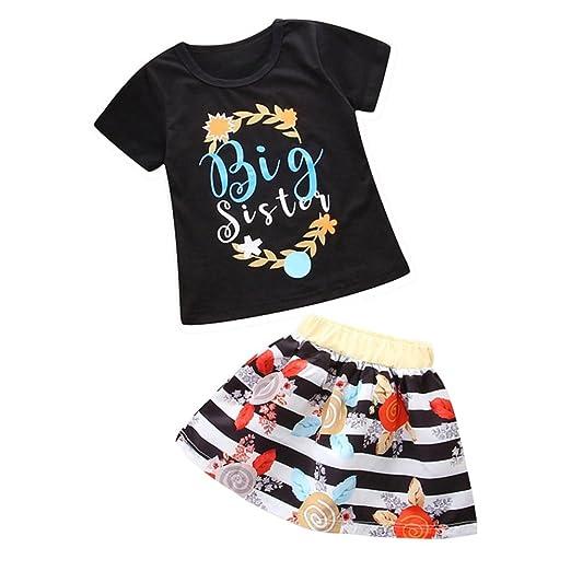 c5c74124ede3 Amazon.com  Weixinbuy Baby Sister Matching Cotton Romper T-Shirt Stripe  Skirts Dress Clothes Set  Clothing
