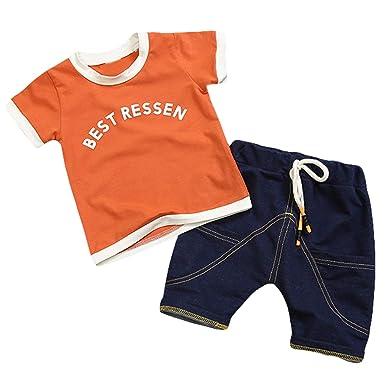 c5ca573261 Amazon.com  Children Clothing Summer Toddler Boys Clothes T-Shirt+Shorts  2pcs Outfits Kids Clothes Sport Suit for Boys Clothing Sets  Clothing