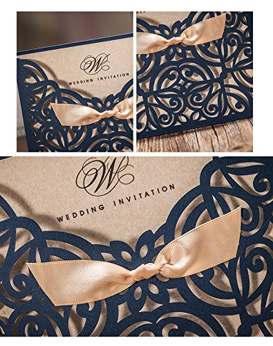Wishamde CW6179B Navy Blue Laser cutting Cardboard with Gold Ribbon Wedding party invitation card, Customize Free (100)