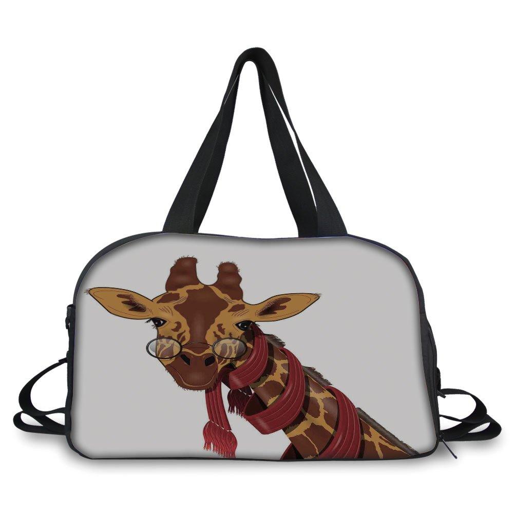 Travel handbag,Cartoon,Illustration of Giraffe Wearing Glasses in a Red Scarf Smart Looking Fun Art,Redwood Marigold ,Personalized