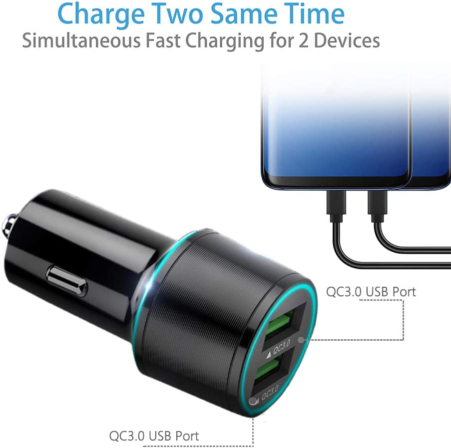 BlackBerry Priv Kindle Fire 7 5FTMicro USB Cable One M9//M9Plus//M8//M7,HTC Desire Quick Charge 3.0 Car Charger Dual USB Port Compatible HTC One X10 One A9 Fire HD8 HD10 Tablet