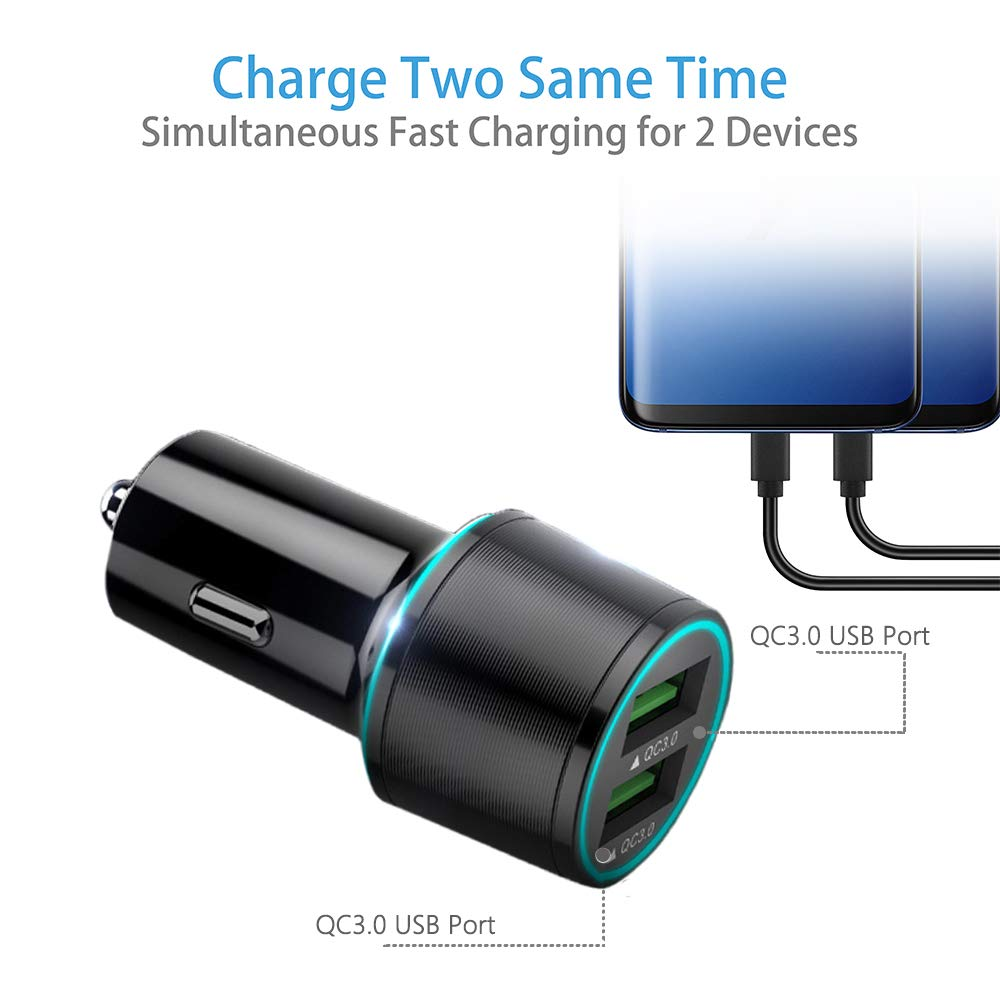 Quick Charge 3.0 Fast Car Charger Dual USB Port Compatible for LG K50 S//K40 S//K30//K20 V//K10//K7//V10,G4 G3,LG Stylus 3//Stylus 2 Plus//Stylo 3 Plus//Stylo 2,LG G Vista 2,Tribute//Fortune,5Ft Micro USB Cords