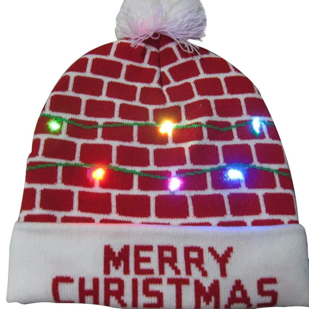 LED Leuchten Hut Mütze Stricken, Weihnachten LED Knit Cap, Bunte LED Xmas Weihnachten Hut Mütze, Winter Schnee Hut Pullover Beanie Cap für Männer Frauen Indoor und Outdoor, Festival, Feiertag, Feier, Ksruee