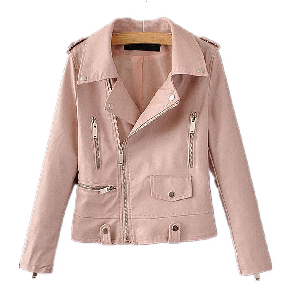 LJYH Girl's PU Leather Clothing Lapel Long Sleeve Baby Zipper Leather Jacket