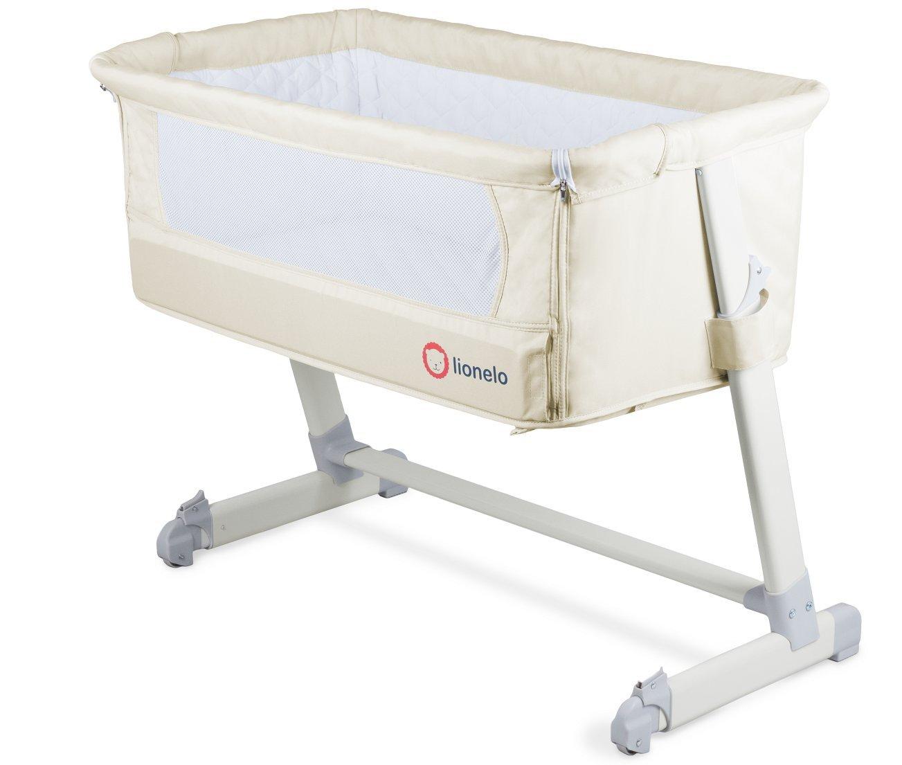 Baby lettino, Theo in beige con materasso, zanzariera, Organizer e tasche Prezzi offerte