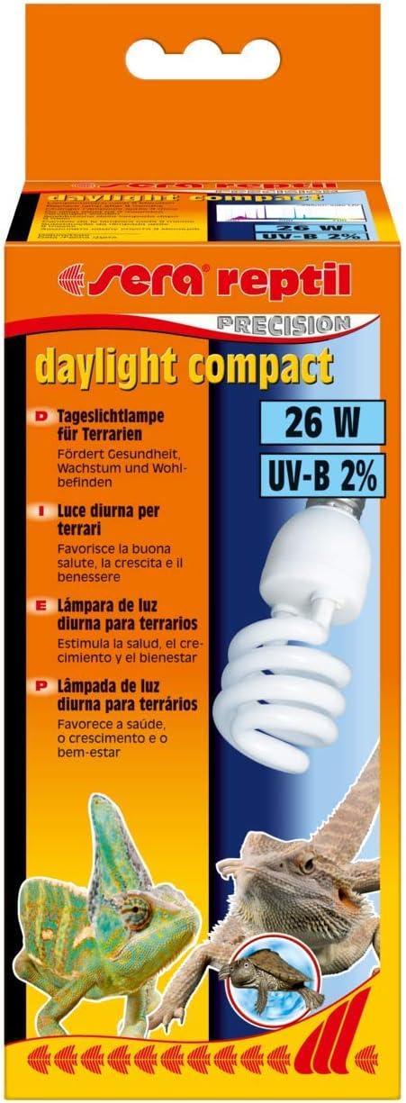 sera Reptil Daylight Compact – Lámpara de luz diurna 26 W y 2% UV-B con casquillo E27 – Luz de día para terrarios compatible con Sera Reptil Terra Top