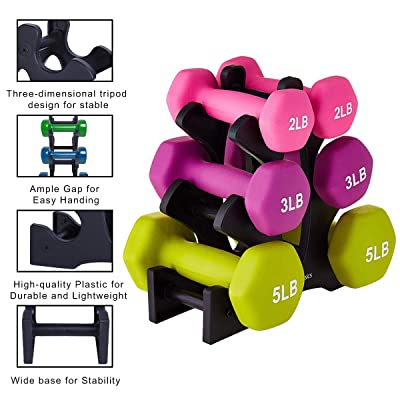 Dumbbell Rack 3-Tier Triangle Vertical Dumbbell Weight Rack for Multilevel Hand Weight Tower Stand Home Gym Exercise Sports Equipment No Dumbbells