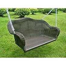 International Caravan 3183-AB-IC Furniture Piece Resin Wicker Hanging Loveseat Swing