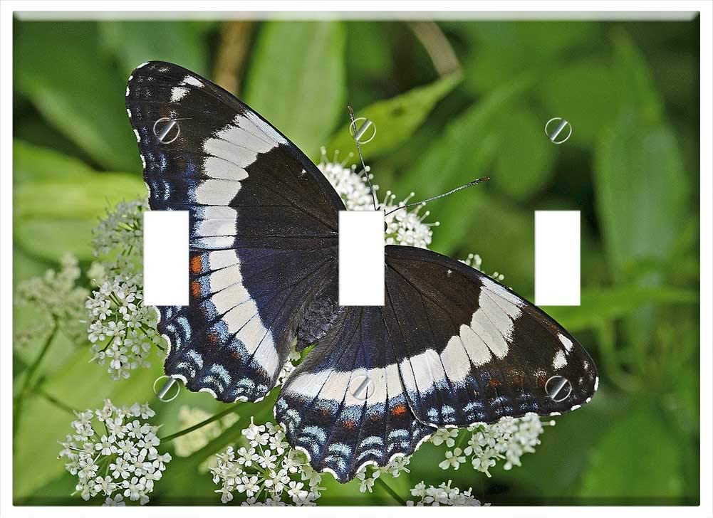 Switch Plate Triple Toggle - White Admiral Butterfly Insect Wildlife Macro
