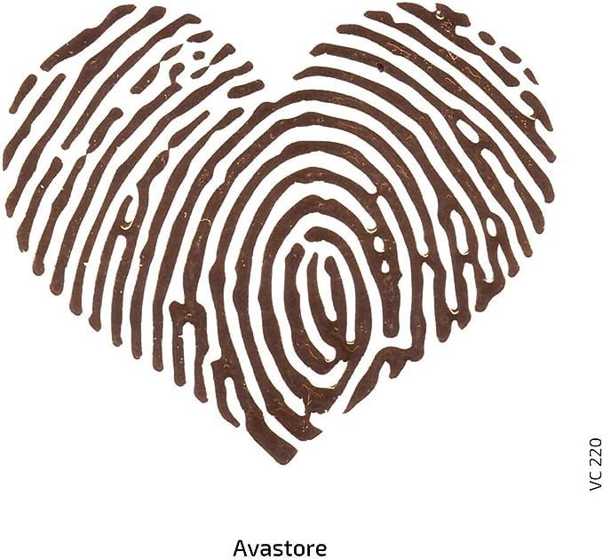 Lot de 2 Tatuajes temporaires huella dactilar del corazón tatuaje ...
