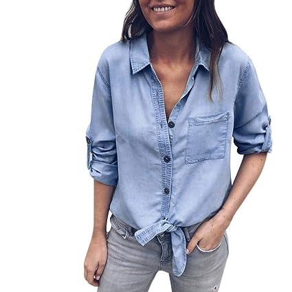 34d515ffc9da5 STRIR Mujeres Manga Larga Camisas Vaquero - Fashion Primavera Otoño Camisa  de Jean con Botones Color