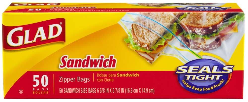 Amazon.com: Glad Food Storage Zipper Sandwich Bags 50 CT ...