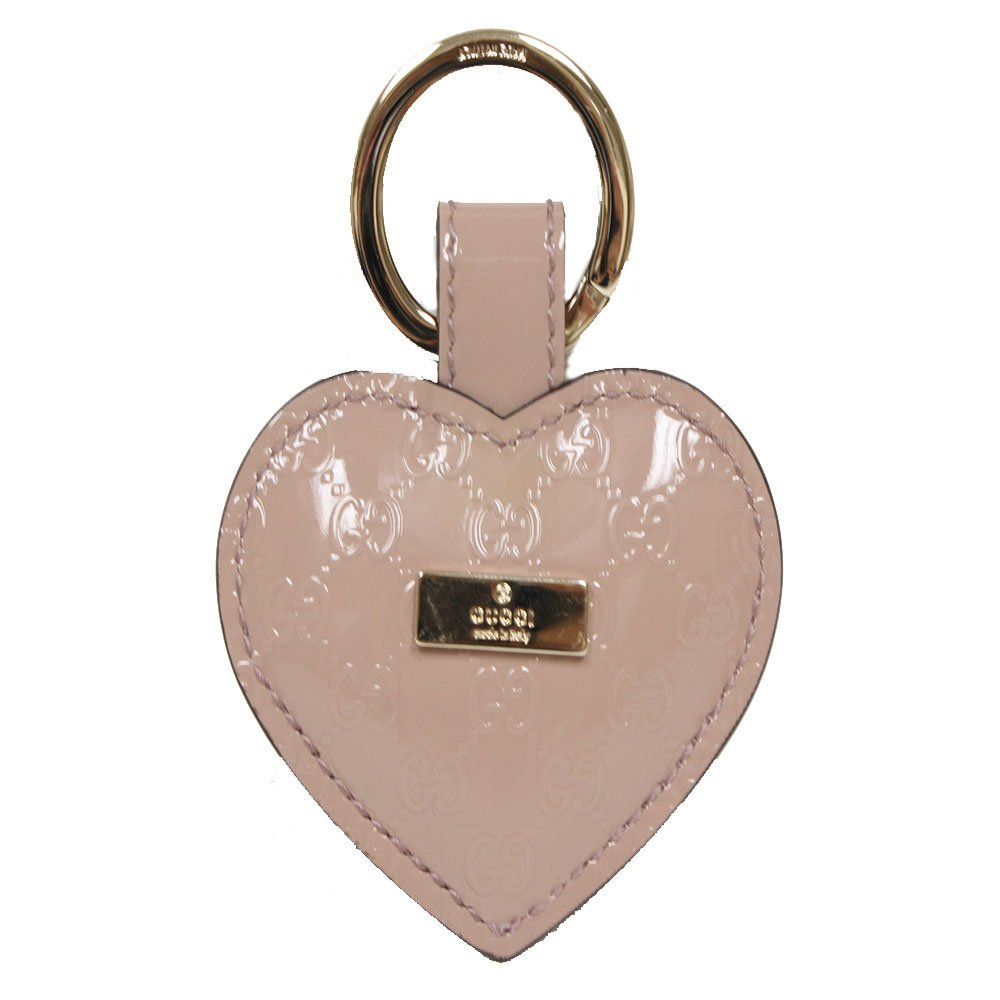 Gucci Light Pink Microguccissima Patent Leather Heart Key Ring 199915