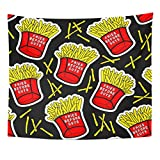 Angoni Tapestry French Fries with Red Boxes of Fried Potatos Before Guys Text Fastfood Patches Stickers Home Decor Wall Hanging for Living Room Bedroom Dorm 60x80 inches