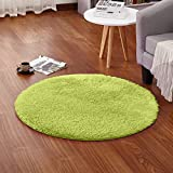 LOCHAS Round Area Rugs Super Soft Living Room Bedroom Home Shaggy Carpet 4-Feet (Green)