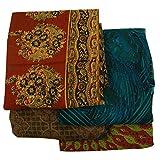 Vintage Indian Lot of 4 Saree Garden Silk Fabric Wrap Decor Multicolor Used Sari