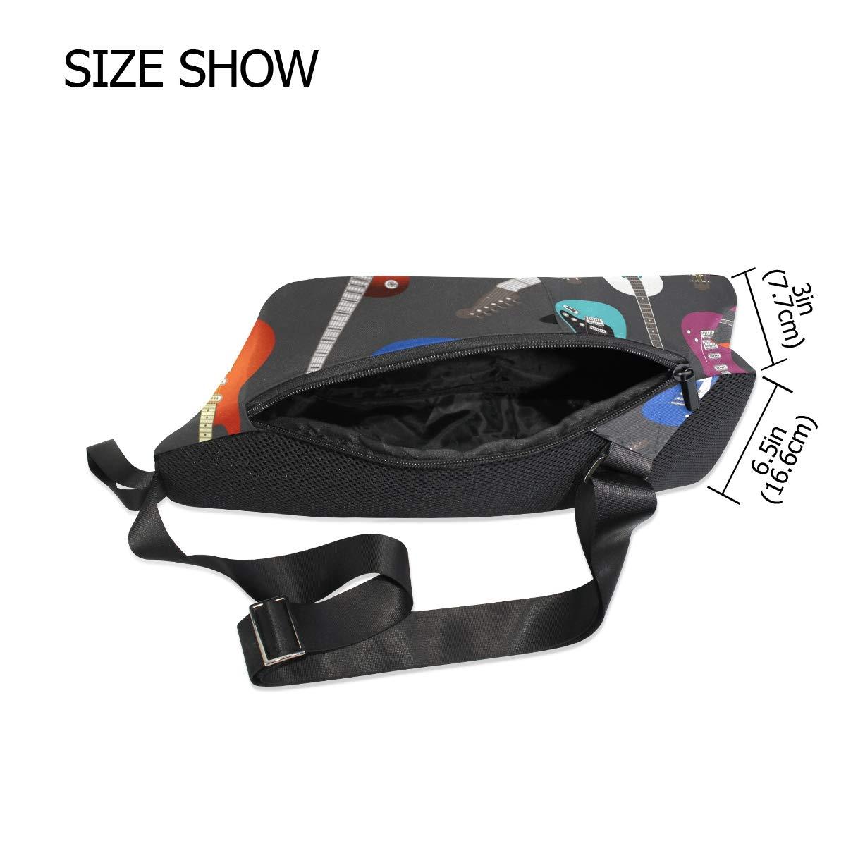 TFONE Colorful Electric Guitar Crossbody Bag Lightweight Chest Shoulder Messenger Pack Backpack Sling Bag