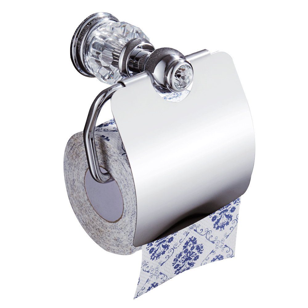 AUSWIND Silver Chrome Polished Toilet Paper Holder Brass Finished Clear Crystal & Glass Tissue Holder Wall Mounted