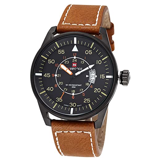 Amazon.com: New Naviforce Military Sport Watches Men Luxury Brand Leather Strap Quartz Watch: Watches