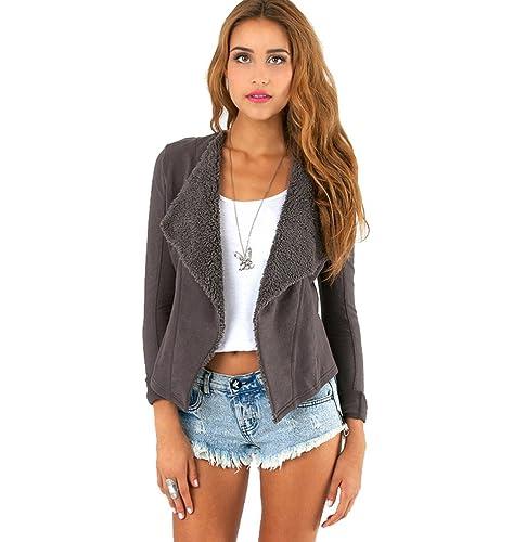 WanYang Mujeres Irregular Manga Larga Casual Tops Outwear Capa Parka Outwear Jacket Cardigan