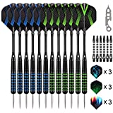 Grebarley Darts,Darts Steel Tip Set 12 Pcs for 4 Palyers 20 / 22Grams with 9 Extra Flights Tool Kit O Rings Ebook