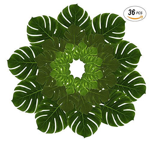 Leaves, DIY Waterproof Artificial Leaf Placemats and Table Runners for Hawaiian Luau Tropical Party Decoration, Jungle Party Supply Table Decoration Accessories-36pcs (L/M/S Size) (Palm Tags)