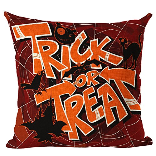 - CUCUHAM Happy Halloween Linen Throw Pillow Case Cushion Cover Home Sofa Decor New