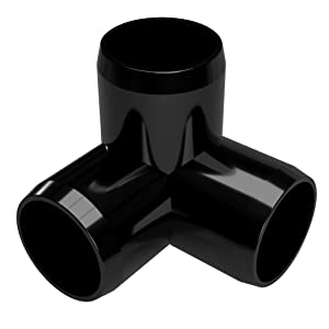 "FORMUFIT F1143WE-BK-4 3-Way Elbow PVC Fitting, Furniture Grade, 1-1/4"" Size, Black (Pack of 4)"