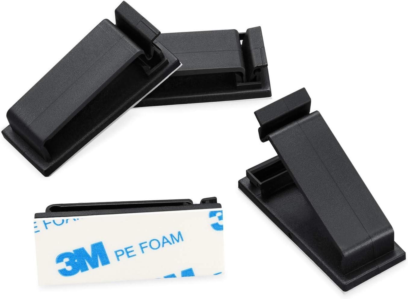 Schreibtisch-Kabelhalter Kabel-Clips selbstklebende Kabel-Management-Klemmen Versteck 50 St/ück 5,3 x 1,9 x 0,7 cm//schwarz Ikerall Kabel-Organizer