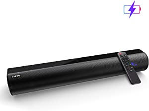 Soundbar with Lithium Battery,106DB/60W Sound Bars for TV,18.9-Inch 3D Surround Sound Wired and Wireless Bluetooth 5.0 TV Speaker Home Theater System(Optical/Aux/USB Connection,Wall Mountable,DSP)
