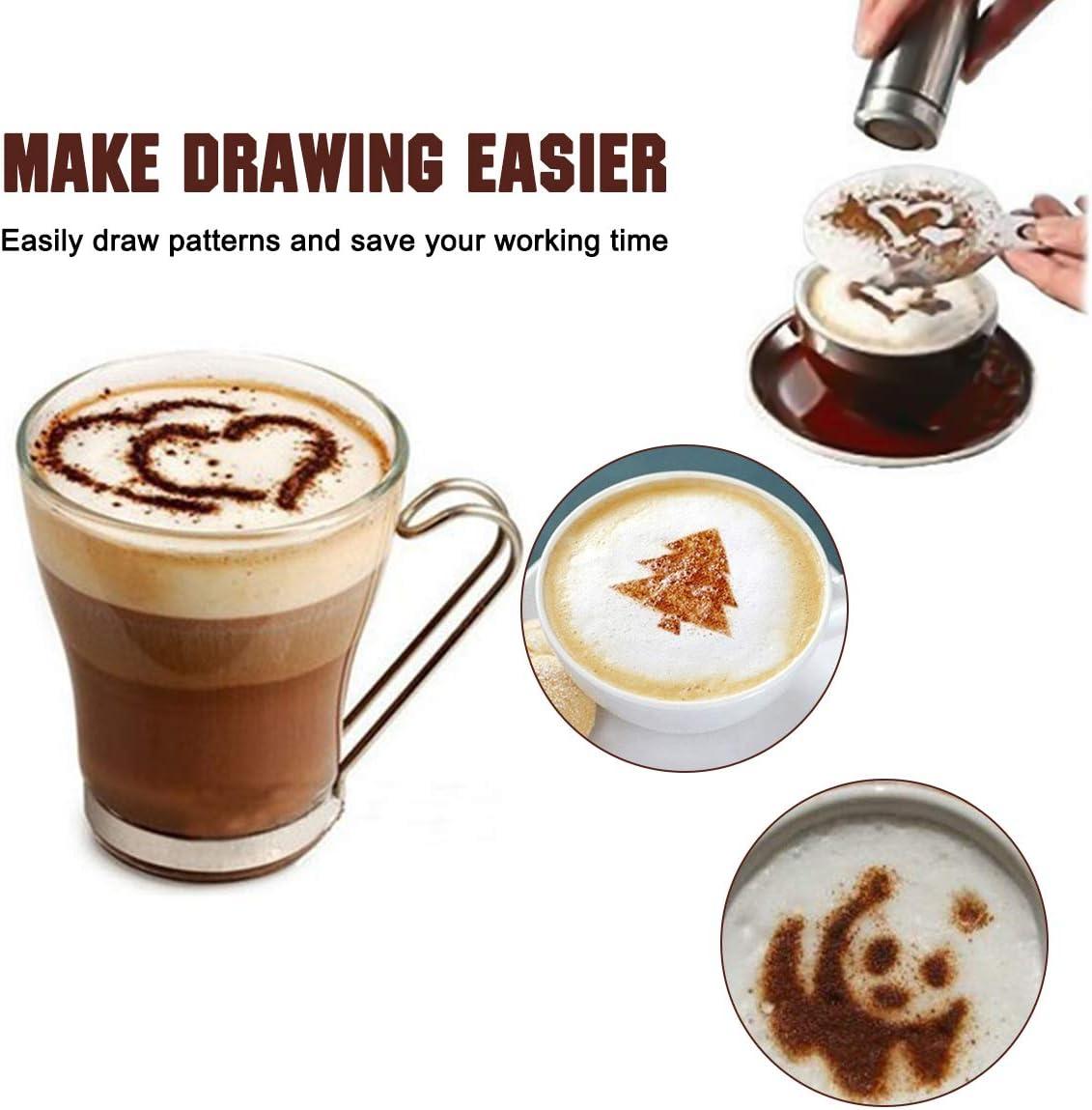 Lot de 26 outils pour cafeti/ère artistique avec 1 stylo /à caf/é et 1 shaker /à poudre de caf/é 24 pochoirs de No/ël pour g/âteau et caf/é