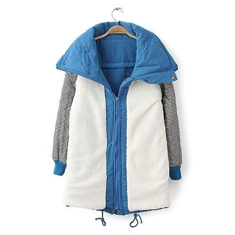 UFACE Damen Parka Warmer Langer Mantel Pelzkragen Kapuzenjacke Winter Parka Outwear (Blau 493, S)